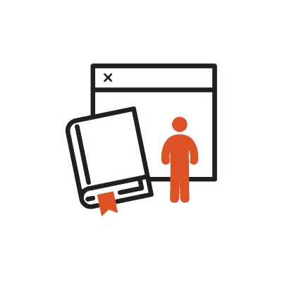 Icon illustrating online learning and blended courses. Book with browser and a small human in the foreground